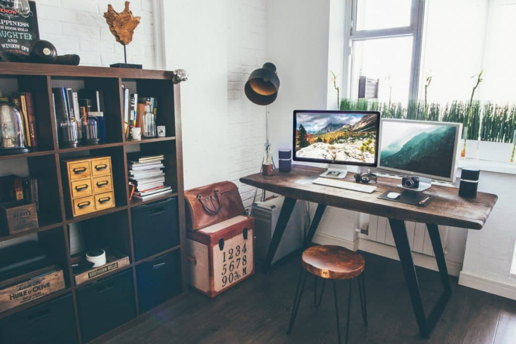 cozy modern office space with dual monitors