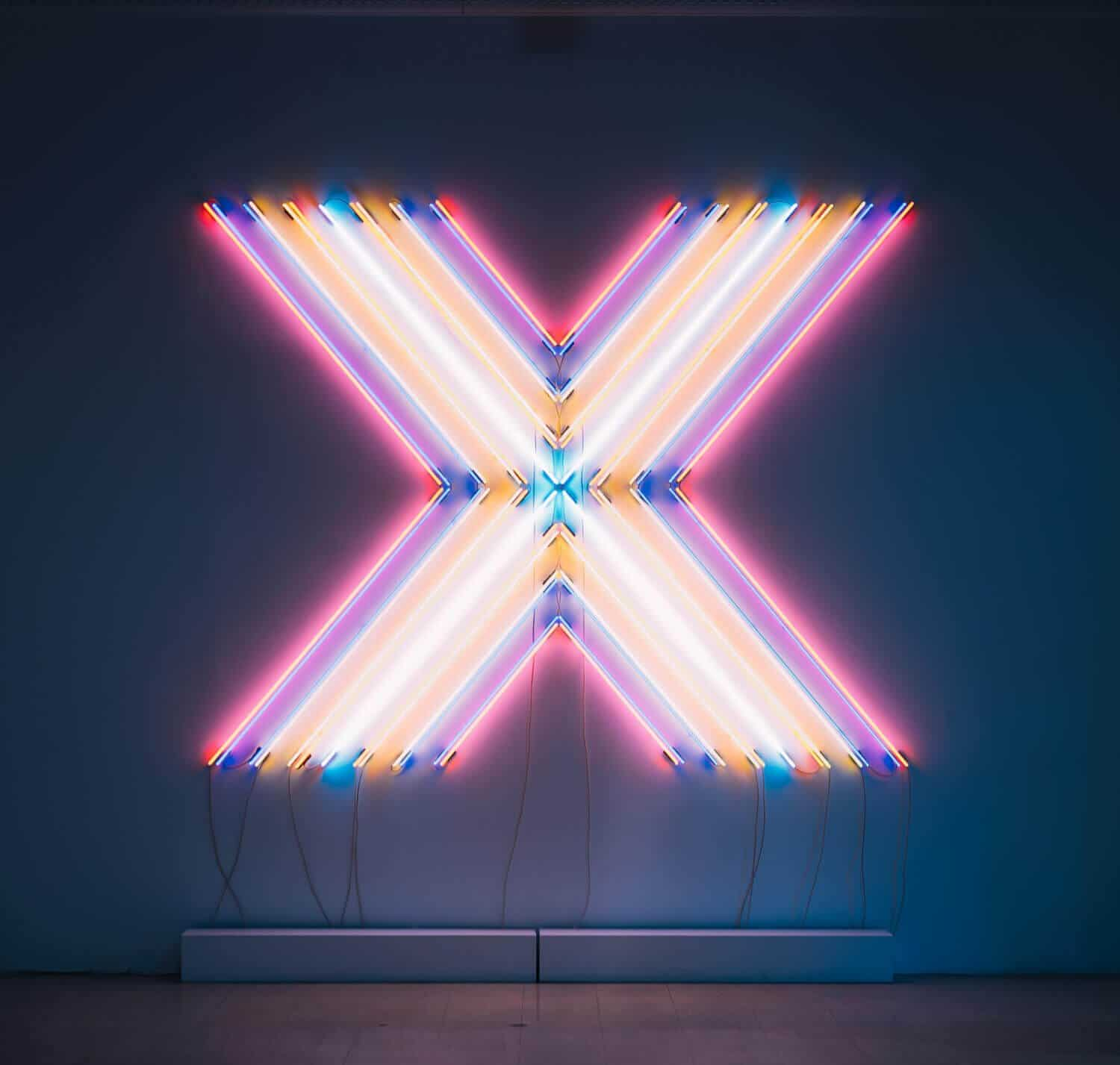 neon lights in the shape of an x