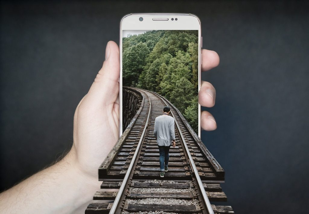 railroad coming out of phone